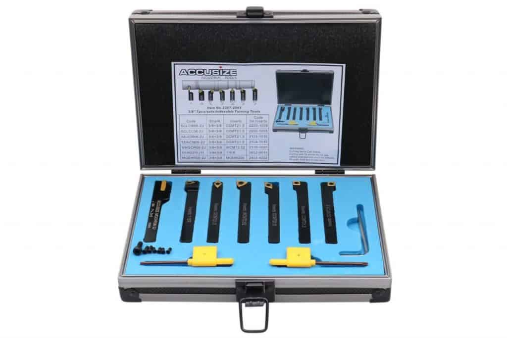 Accusize Industrial Tools 3/8'' Shank 7 Pc Indexable Carbide Turning Tool Set in Fitted Box